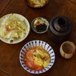 生白菜サラダ、トマトと卵の炒めもの献立。