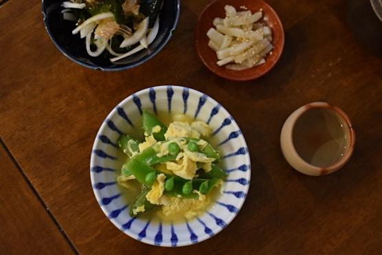 スナップえんどうの卵とじ献立