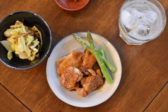 鶏もも肉のソース焼き献立