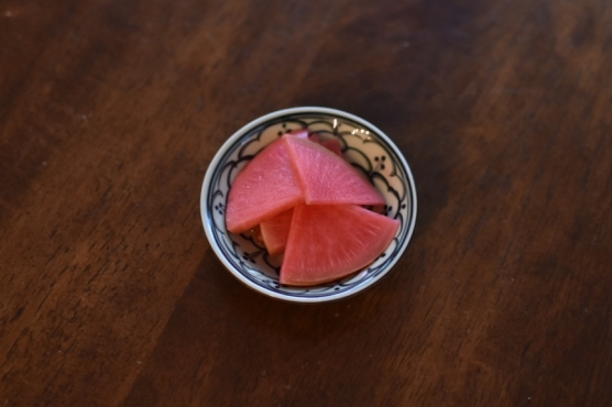 紅芯大根の甘酢漬け
