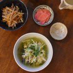 豚と水菜のはりはり煮、きんぴらごぼう献立。