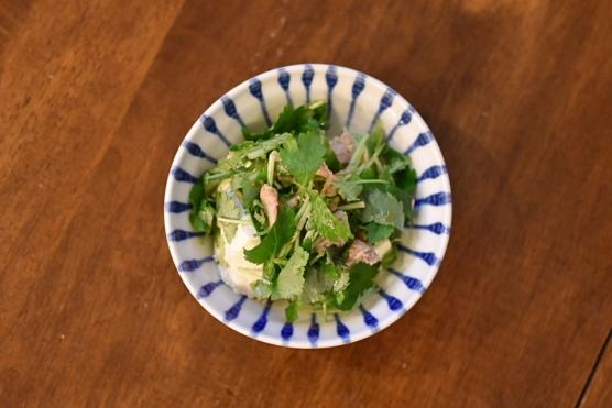 豆腐と三つ葉のサラダ