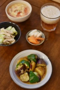 地三鮮、蒸し鶏とキャベツの柚子胡椒和え献立