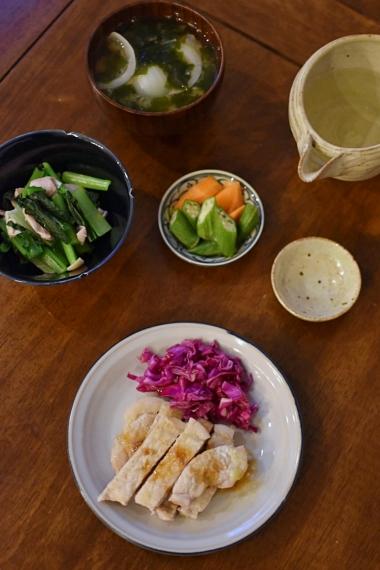 豚ロースのわさび焼き、小松菜ときのこのおひたしで晩酌。